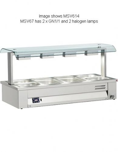 Inomak Gastronorm Bain Marie with Double Sneeze Guard - MSV67